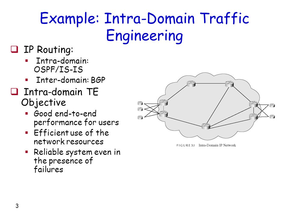 3 Example: Intra-Domain Traffic Engineering  IP Routing:  Intra-domain: OSPF/IS-IS  Inter-domain: BGP  Intra-domain TE Objective  Good end-to-end performance for users  Efficient use of the network resources  Reliable system even in the presence of failures