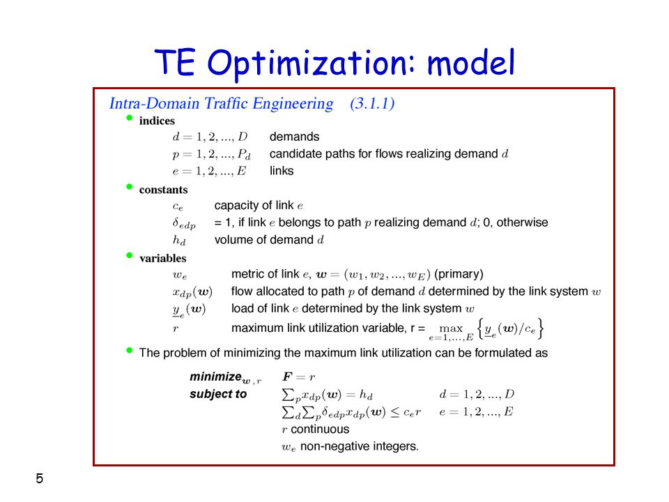 5 TE Optimization: model