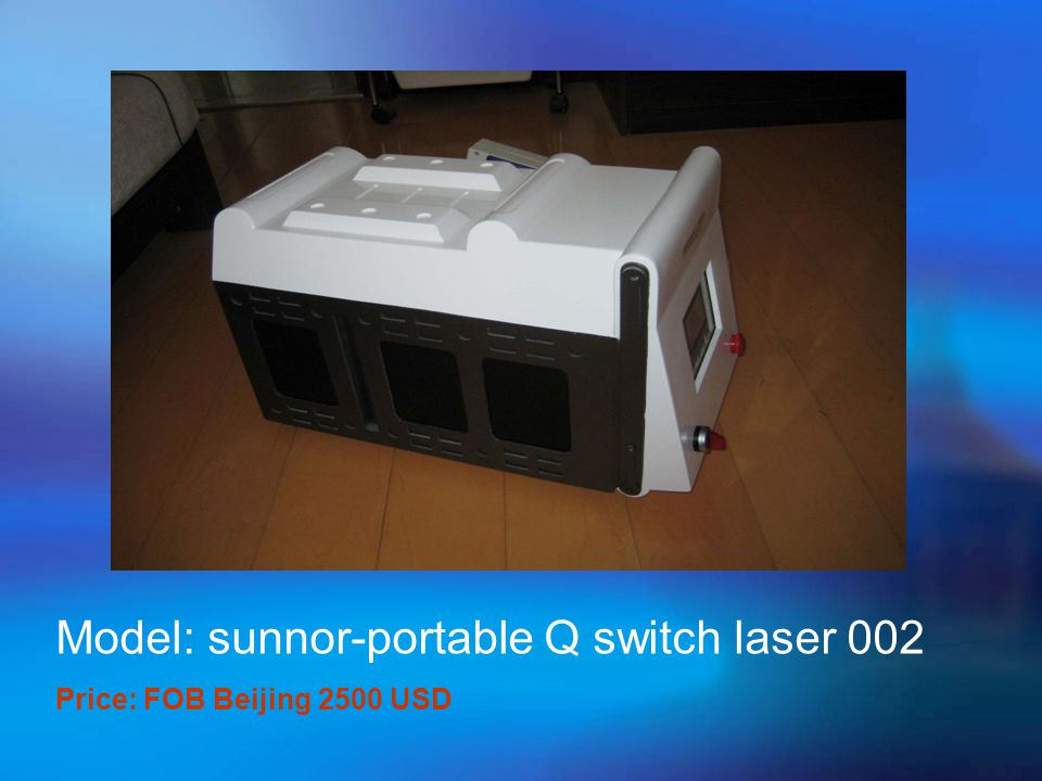  Specifications:  Laser wavelength: 10.6 um  Out power: ≥ 30 W  Output manner: continuous, repeated pulse  Pulse length: 0.05 – 1 second  7 joimted arms to conduct light  Indicator light: 635nm of diode laser  Focusing diameter: ≤ 0.5 mm  Voltage: 220V/110V, 50Hz/ 60 Hz