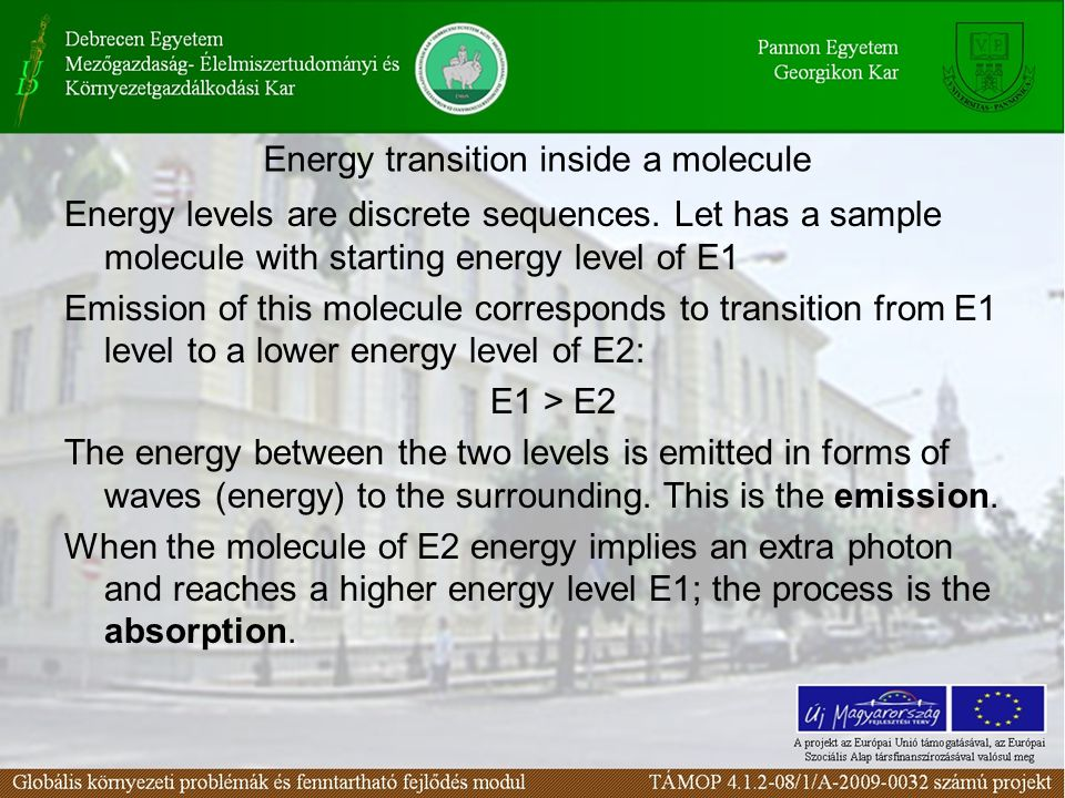 Energy transition inside a molecule Energy levels are discrete sequences.