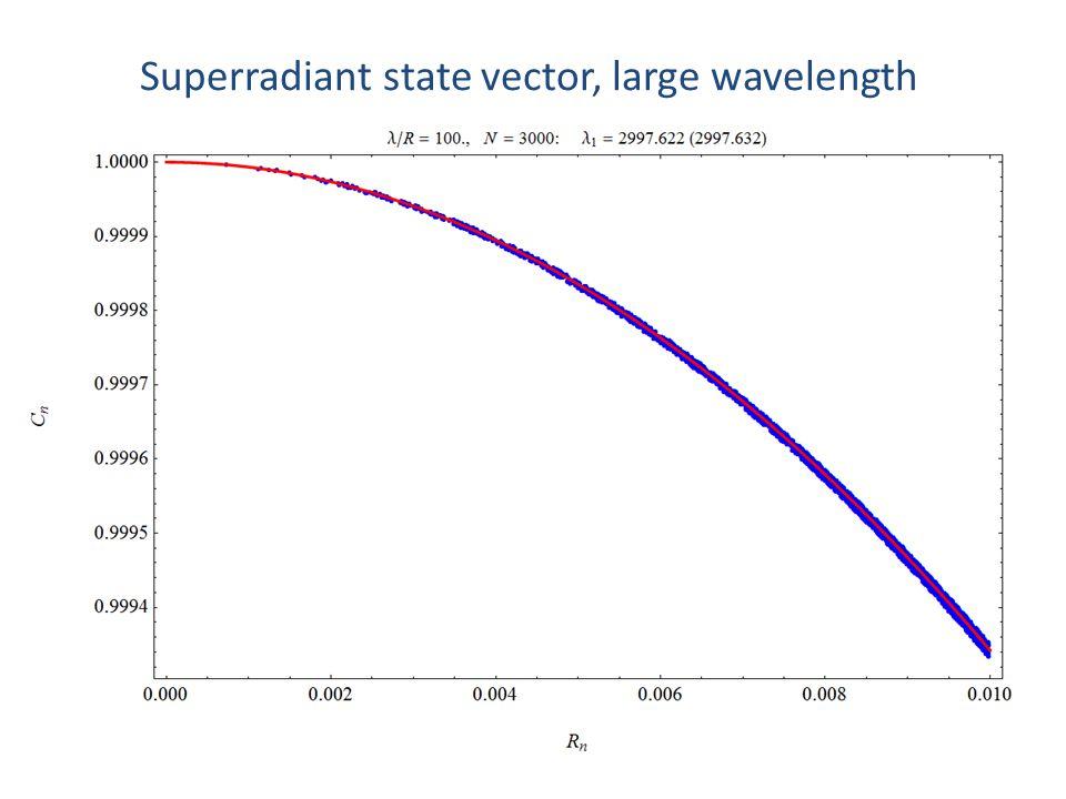 Superradiant state vector, large wavelength