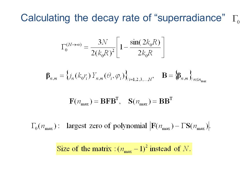 """Calculating the decay rate of """"superradiance"""""""