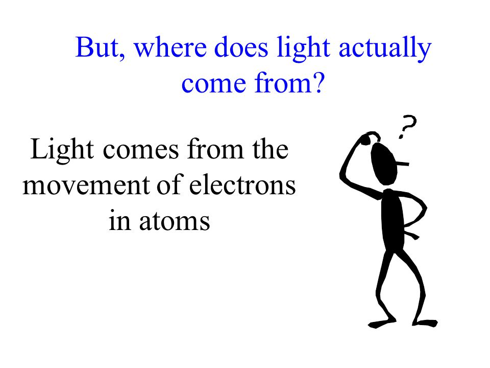 But, where does light actually come from? Light comes from the movement of electrons in atoms