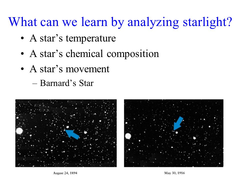 What can we learn by analyzing starlight? A star's temperature A star's chemical composition A star's movement –Barnard's Star