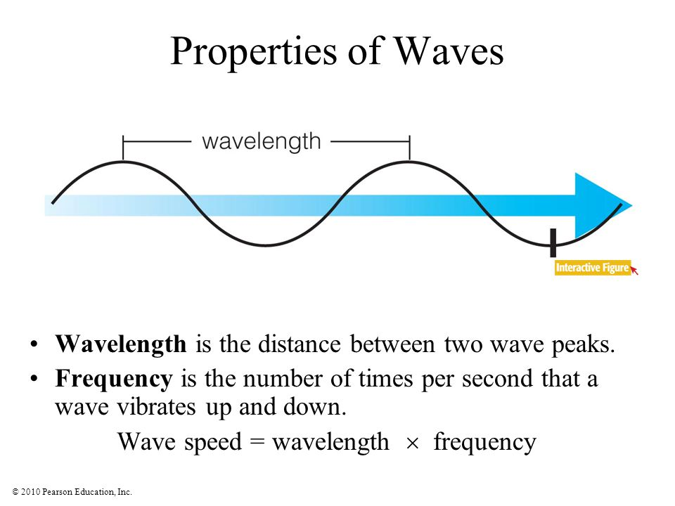 © 2010 Pearson Education, Inc. Properties of Waves Wavelength is the distance between two wave peaks. Frequency is the number of times per second that