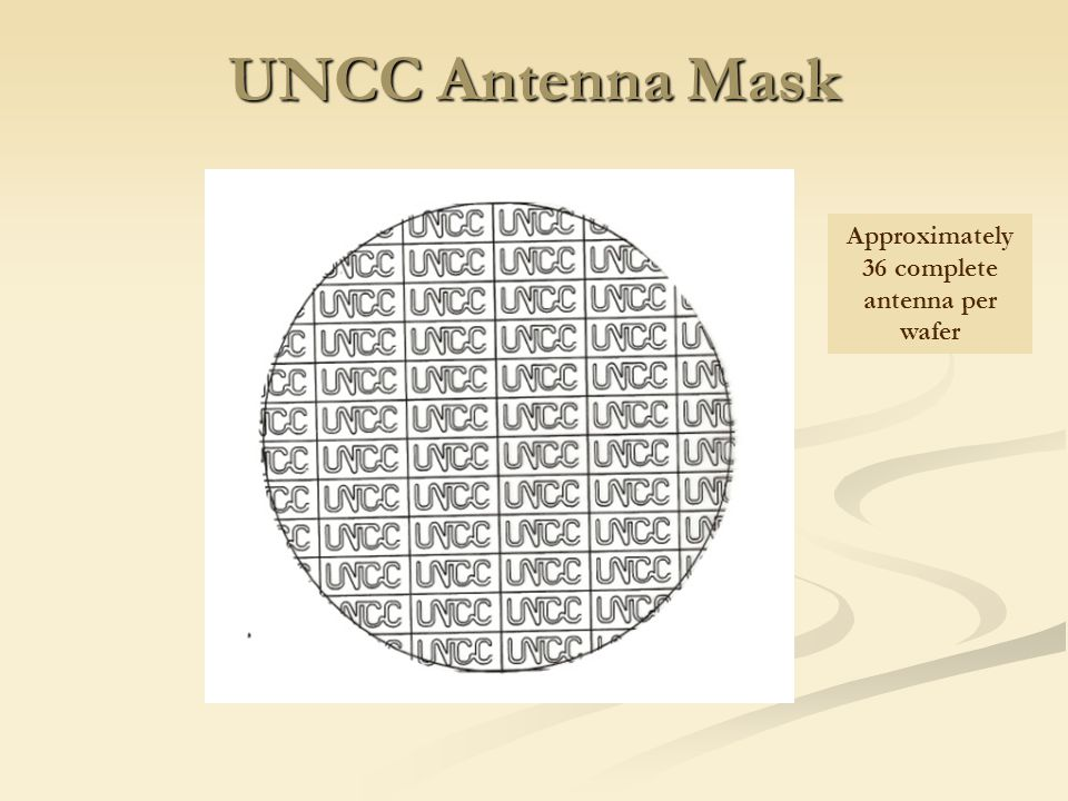 UNCC Antenna Mask Approximately 36 complete antenna per wafer
