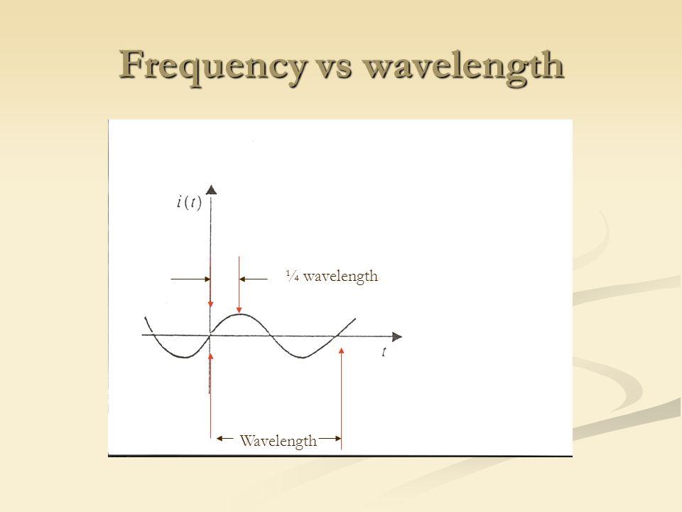 Wavelength Calculations Wavelength units: Wavelength units:  (wavelength) m/cycle  (wavelength) m/cycle f (frequency) cycles/sec = hertz f (frequency) cycles/sec = hertz c (speed of light) m/sec  3.0 x 10 8 m/sec c (speed of light) m/sec  3.0 x 10 8 m/sec Wavelength equation Wavelength equation  c / f  c / f m/cycle = (m/sec) / (cycles/sec) m/cycle = (m/sec) / (cycles/sec)