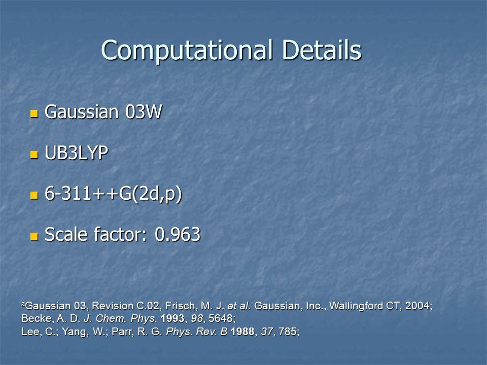 Computational Details Gaussian 03W Gaussian 03W UB3LYP UB3LYP 6-311++G(2d,p) 6-311++G(2d,p) Scale factor: 0.963 Scale factor: 0.963 a Gaussian 03, Revision C.02, Frisch, M.