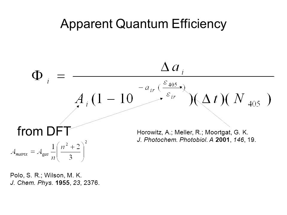 Horowitz, A.; Meller, R.; Moortgat, G. K. J. Photochem. Photobiol. A 2001, 146, 19. Apparent Quantum Efficiency from DFT Polo, S. R.; Wilson, M. K. J.