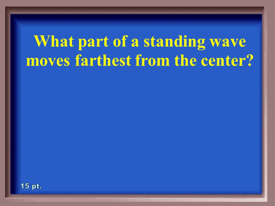 3-10A What part of a standing wave does not move The Node