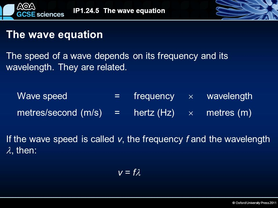 © Oxford University Press 2011 IP1.24.5 The wave equation The wave equation The speed of a wave depends on its frequency and its wavelength. They are