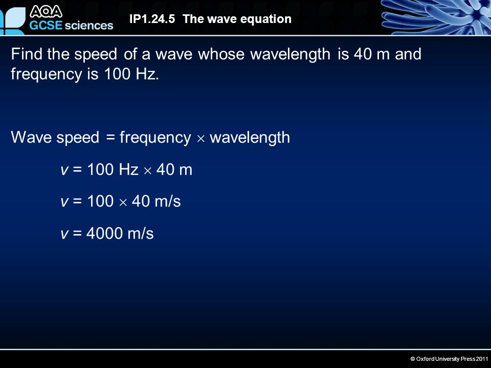 © Oxford University Press 2011 IP1.24.5 The wave equation Find the speed of a wave whose wavelength is 40 m and frequency is 100 Hz. Wave speed = freq