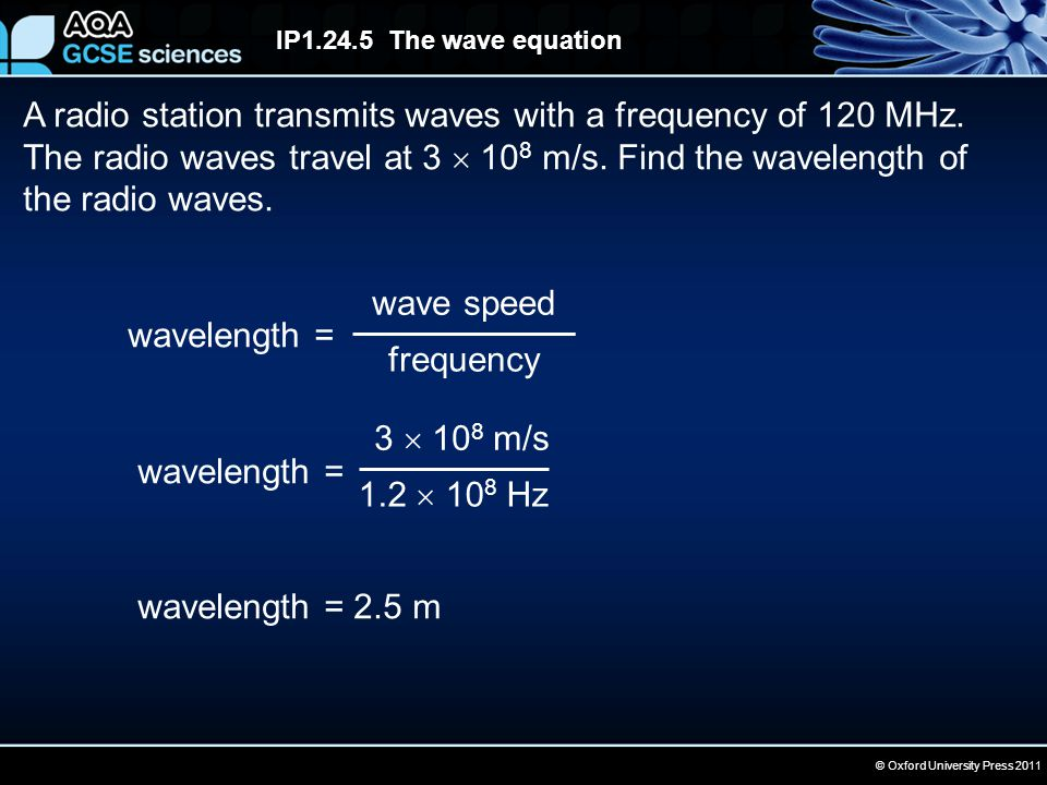 © Oxford University Press 2011 IP1.24.5 The wave equation A radio station transmits waves with a frequency of 120 MHz. The radio waves travel at 3  1