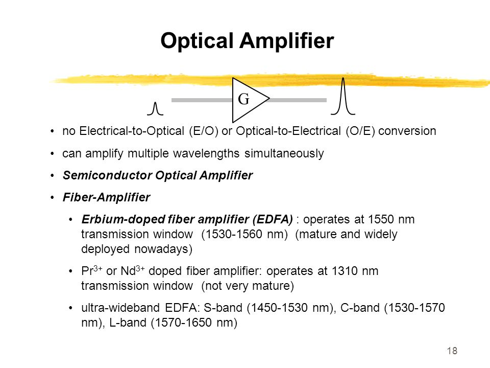 18 Optical Amplifier no Electrical-to-Optical (E/O) or Optical-to-Electrical (O/E) conversion can amplify multiple wavelengths simultaneously Semicond