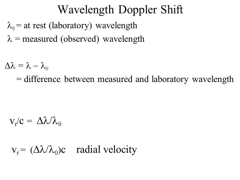 Wavelength Doppler Shift  0 = at rest (laboratory) wavelength = measured (observed) wavelength  =  0 = difference between measured and laboratory wavelength v r / c =  0 v r = (  0 ) c radial velocity