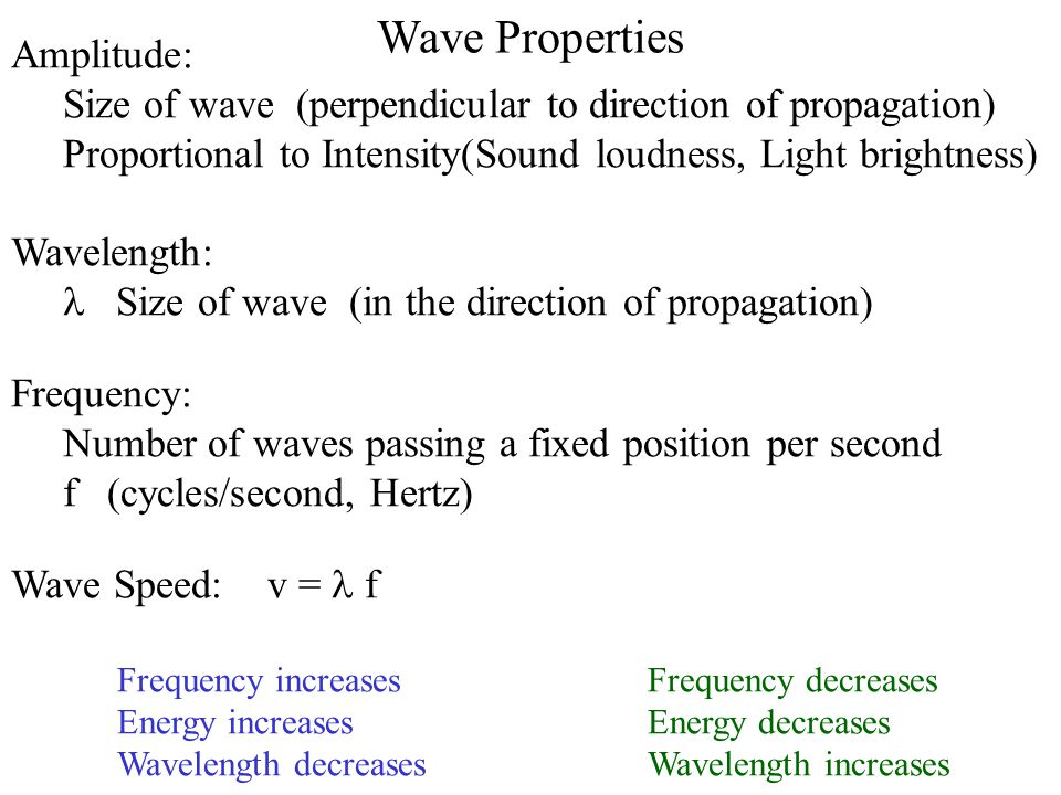 Amplitude: Size of wave (perpendicular to direction of propagation) Proportional to Intensity(Sound loudness, Light brightness) Wavelength:  Size o