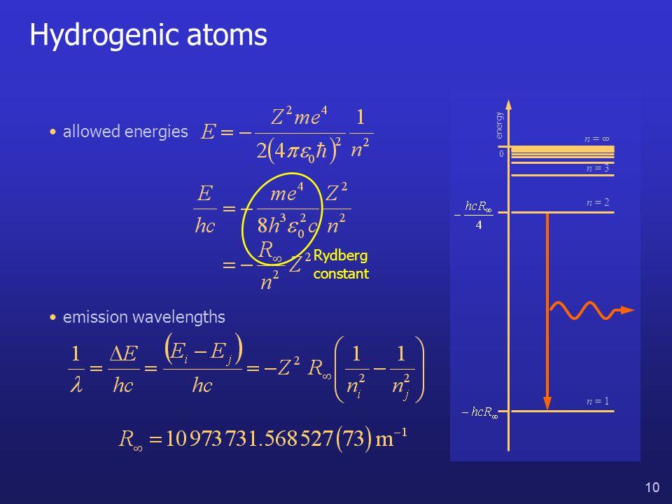 10 Hydrogenic atoms allowed energies Rydberg constant energy 0 n = 1 n = 3 n =  emission wavelengths n = 2