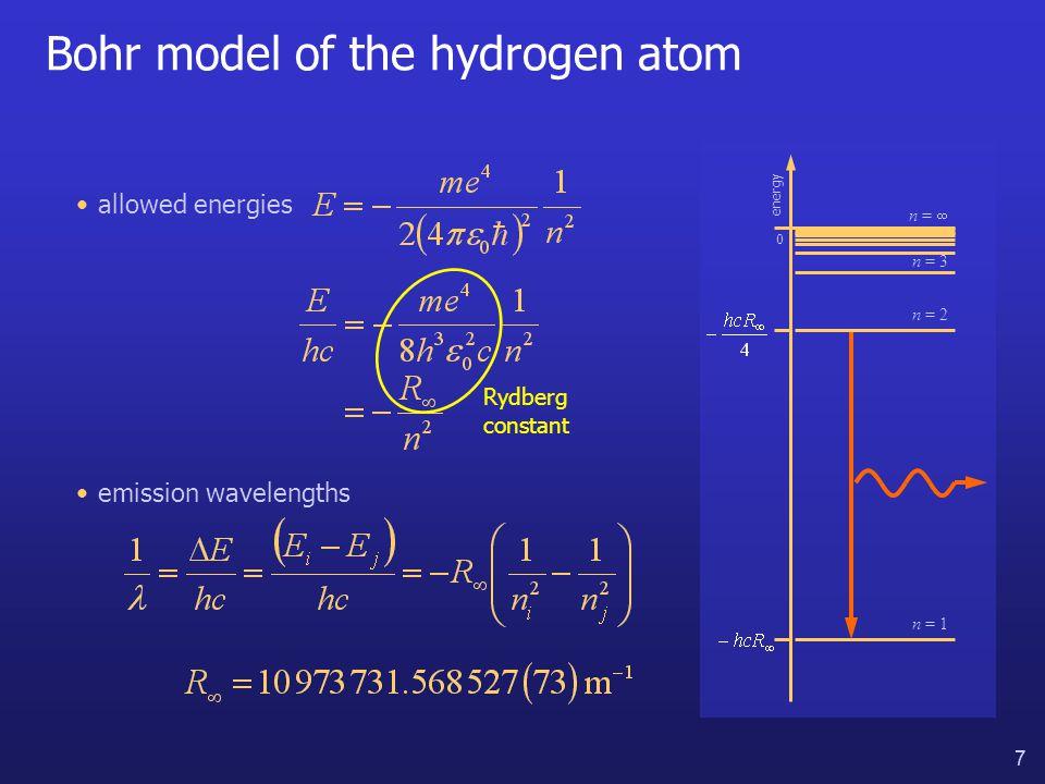 8 8 Atomic line spectra allowed energies Rydberg constant emission wavelengths energy 0 n = 1 n = 3 n =  n = 2