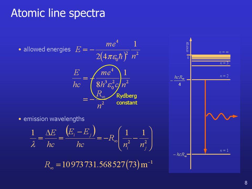 19 Quantum measurement allowed energies energy 0 n = 1 n = 3 n =  n = 2 1.measured energy must be one of allowed values 2.…but until measurement, any energy possible 3.after measurement, subsequent measurements will give same value THE HYDROGEN ATOM QUANTUM MEASUREMENT