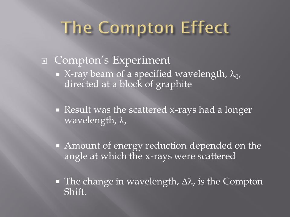  Compton's Experiment  X-ray beam of a specified wavelength, 0, directed at a block of graphite  Result was the scattered x-rays had a longer wavelength,,  Amount of energy reduction depended on the angle at which the x-rays were scattered  The change in wavelength, , is the Compton Shift.