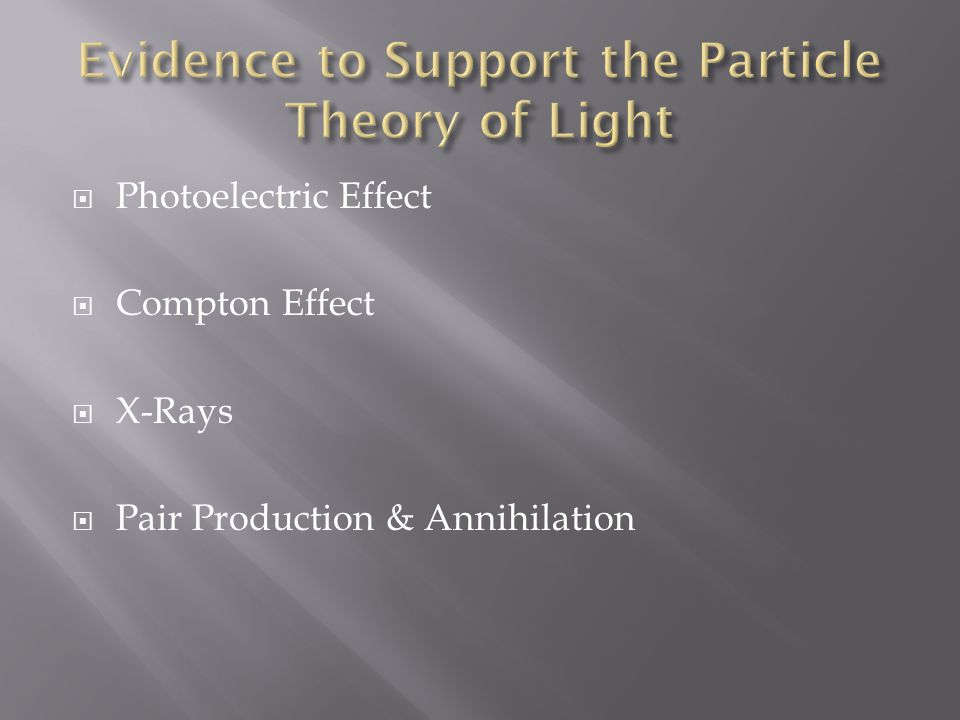  Photoelectric Effect  Compton Effect  X-Rays  Pair Production & Annihilation