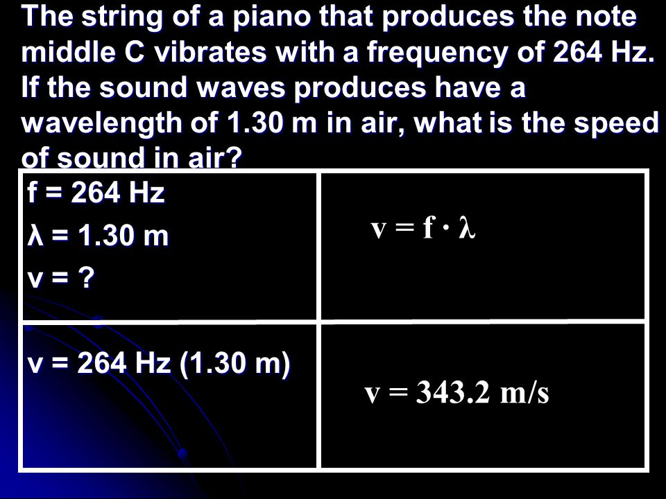 The string of a piano that produces the note middle C vibrates with a frequency of 264 Hz.