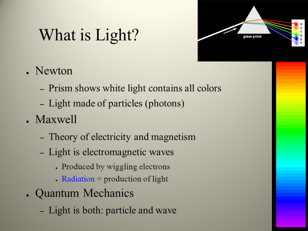 Atomic Emission ● Electron jumps to a lower energy orbit – Atom emits photon – can emit only discrete colors ● same colors (wavelengths/energies) as absorption