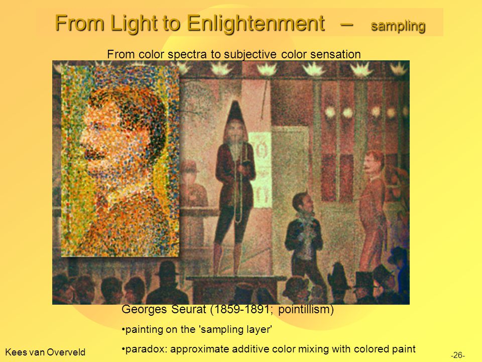 Kees van Overveld Georges Seurat (1859-1891; pointillism) painting on the sampling layer paradox: approximate additive color mixing with colored paint -26- From color spectra to subjective color sensation From Light to Enlightenment – sampling