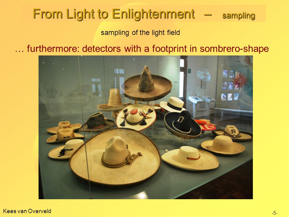 Kees van Overveld -5- … furthermore: detectors with a footprint in sombrero-shape From Light to Enlightenment – sampling sampling of the light field