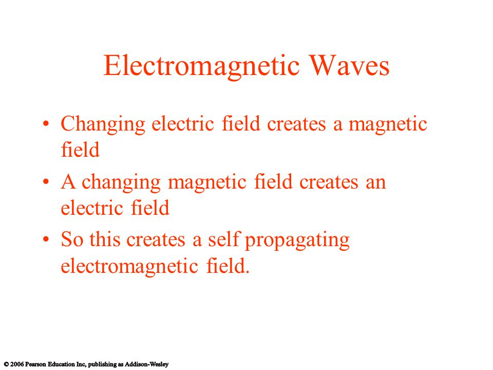 Electromagnetic Waves Changing electric field creates a magnetic field A changing magnetic field creates an electric field So this creates a self propagating electromagnetic field.