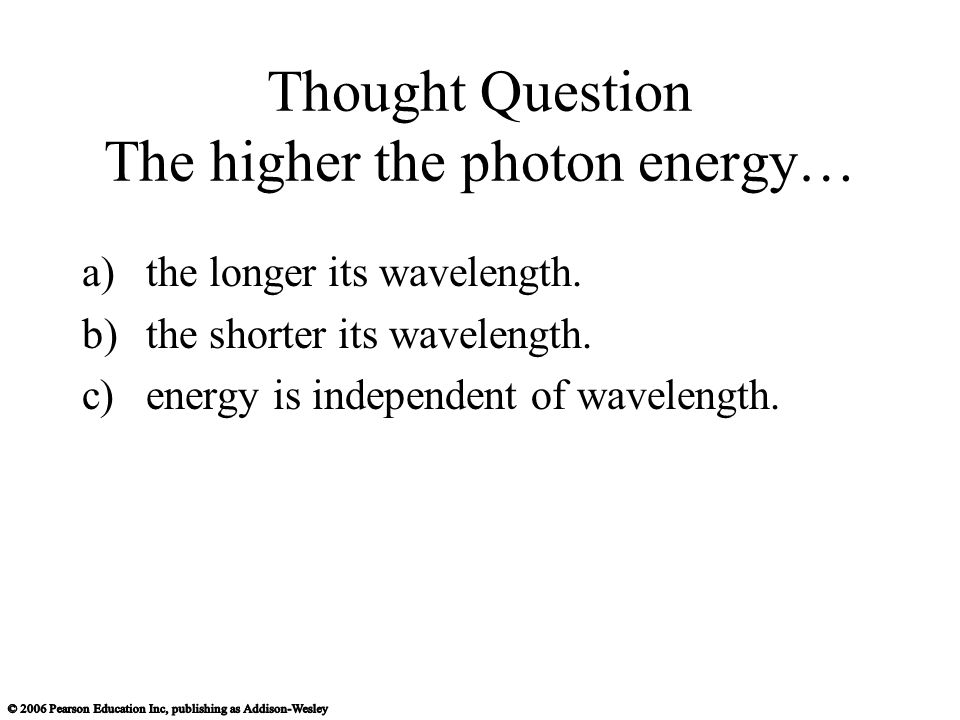 Thought Question The higher the photon energy… a)the longer its wavelength.
