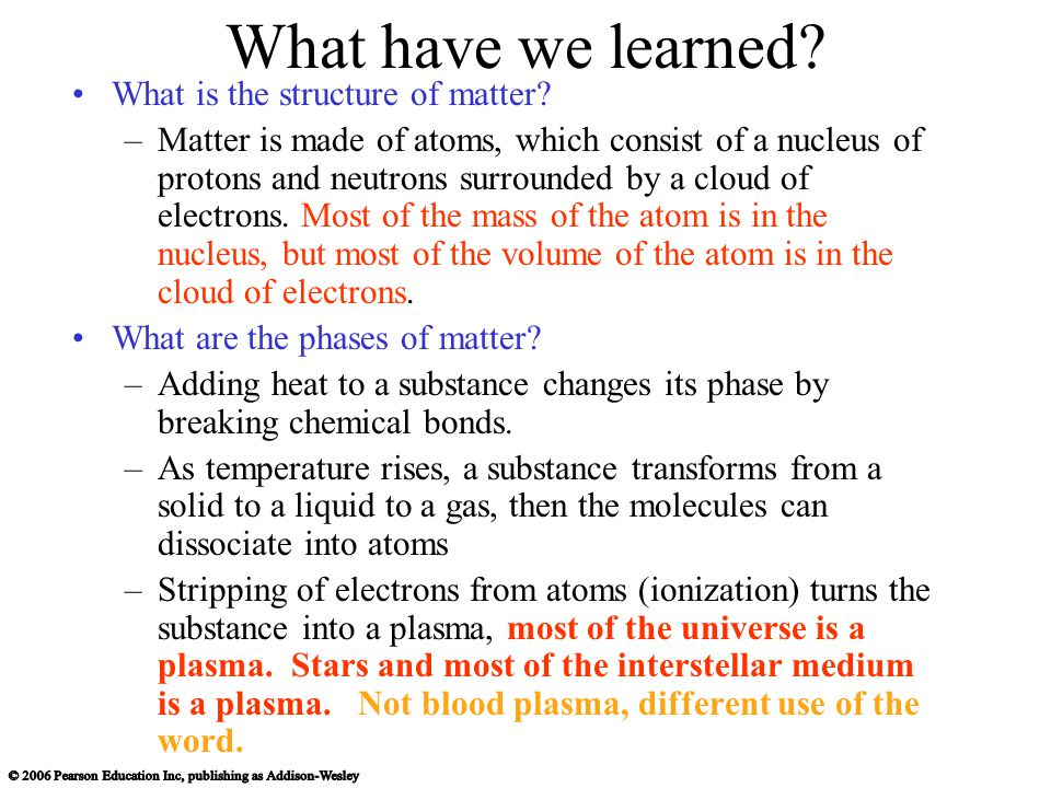 What have we learned. What is the structure of matter.