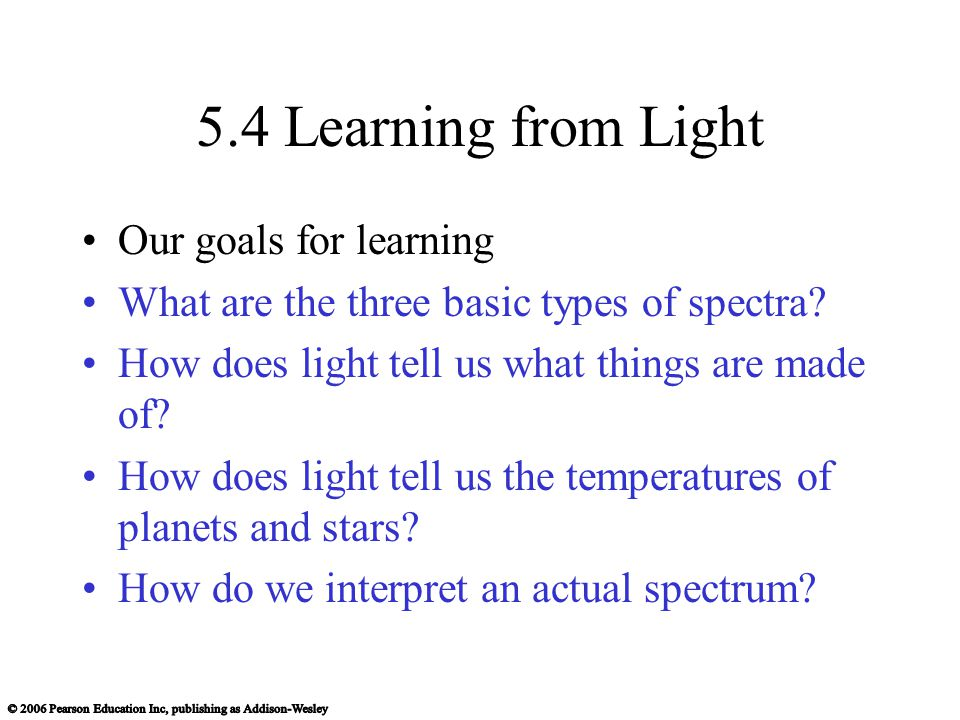 5.4 Learning from Light Our goals for learning What are the three basic types of spectra.