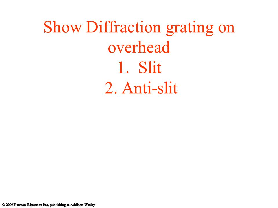 Show Diffraction grating on overhead 1. Slit 2. Anti-slit
