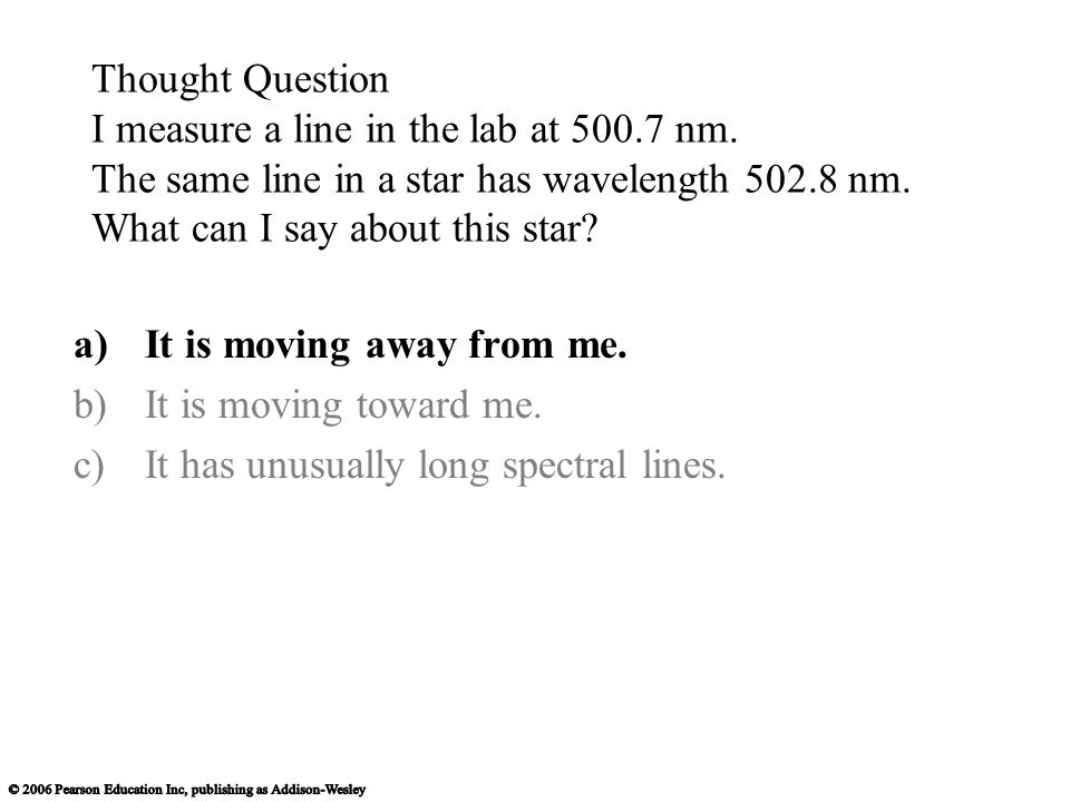 Thought Question I measure a line in the lab at 500.7 nm.