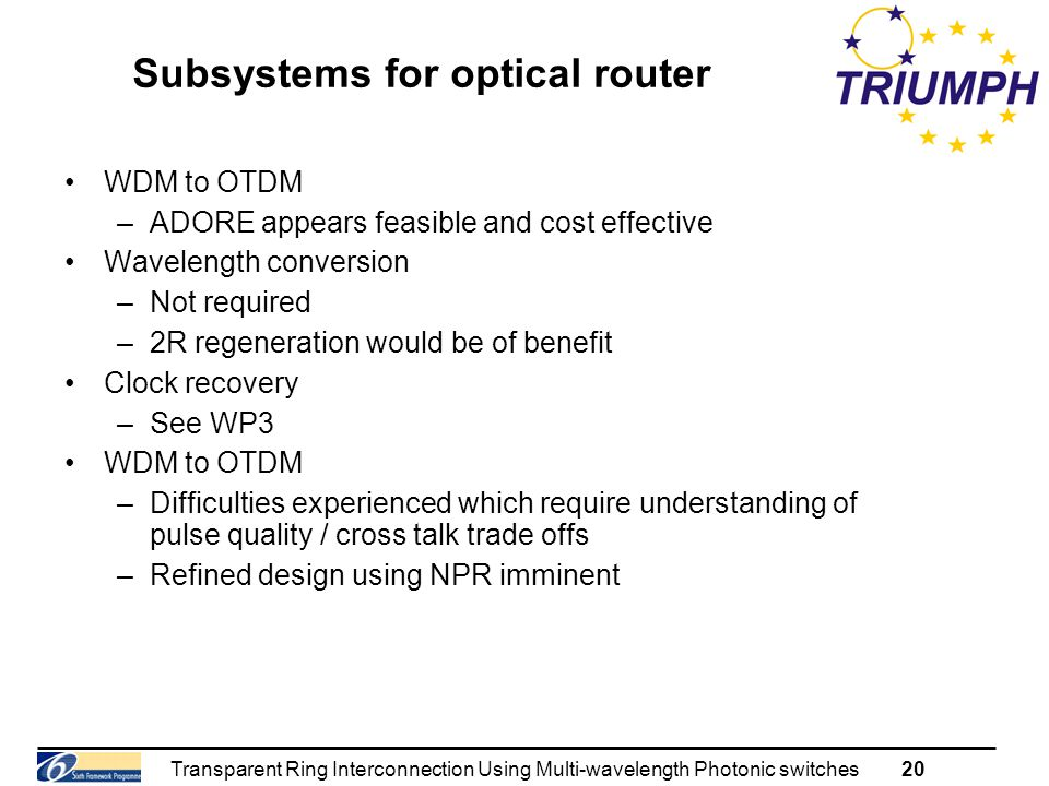 Transparent Ring Interconnection Using Multi-wavelength Photonic switches20 Subsystems for optical router WDM to OTDM –ADORE appears feasible and cost effective Wavelength conversion –Not required –2R regeneration would be of benefit Clock recovery –See WP3 WDM to OTDM –Difficulties experienced which require understanding of pulse quality / cross talk trade offs –Refined design using NPR imminent