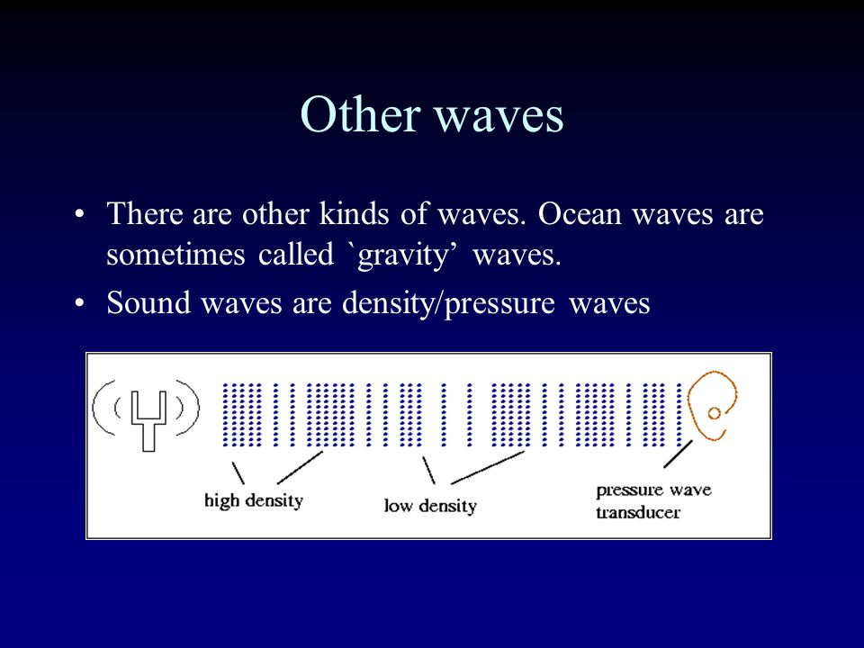 Other waves There are other kinds of waves.Ocean waves are sometimes called `gravity' waves.