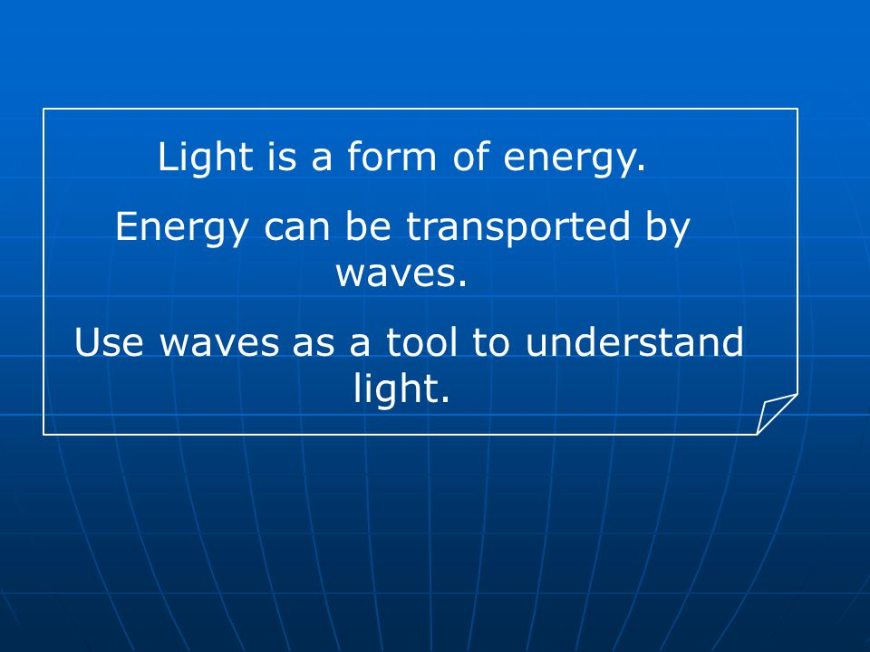 Light is a form of energy. Energy can be transported by waves.