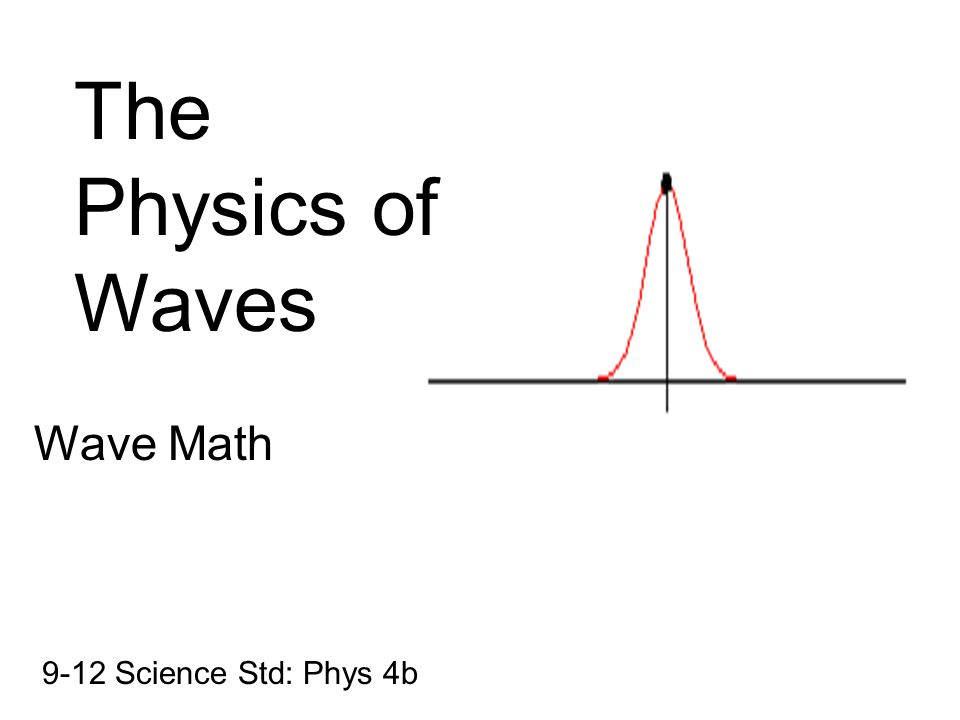 The Physics of Waves Wave Math 9-12 Science Std: Phys 4b