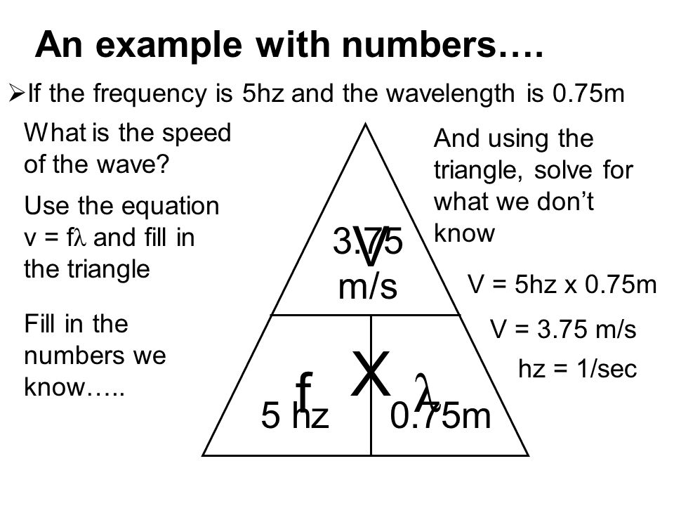 An example with numbers….  If the frequency is 5hz and the wavelength is 0.75m What is the speed of the wave? V f λ Use the equation v = f λ and fill