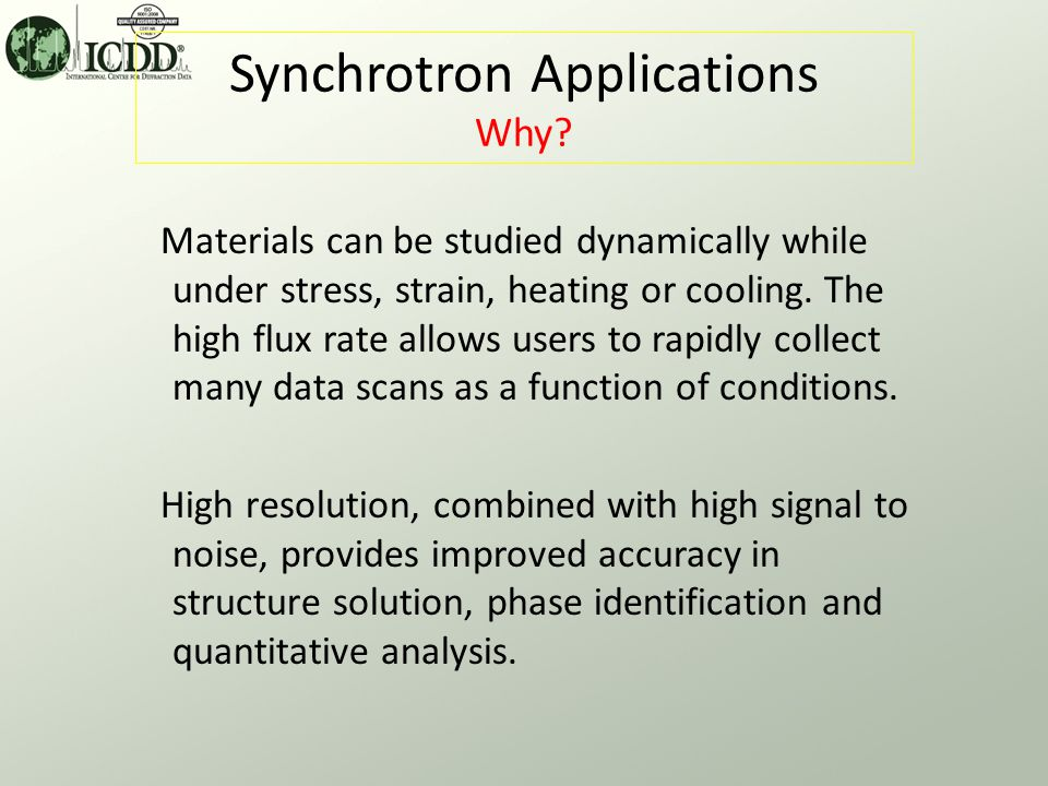 Synchrotron Applications How.