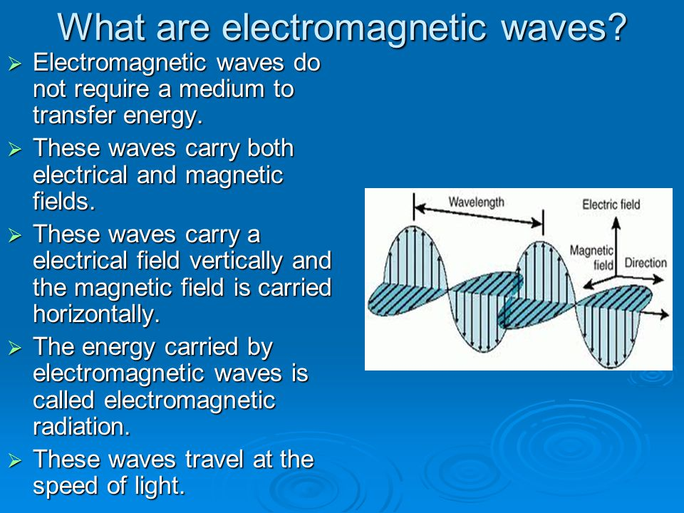 What are electromagnetic waves?  Electromagnetic waves do not require a medium to transfer energy.  These waves carry both electrical and magnetic f