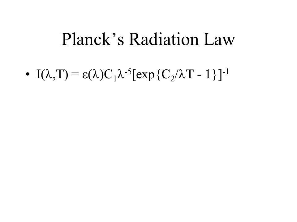 Planck's Radiation Law I ,T) =  ( )C 1 -5 [exp{C  / T - 1}] -1