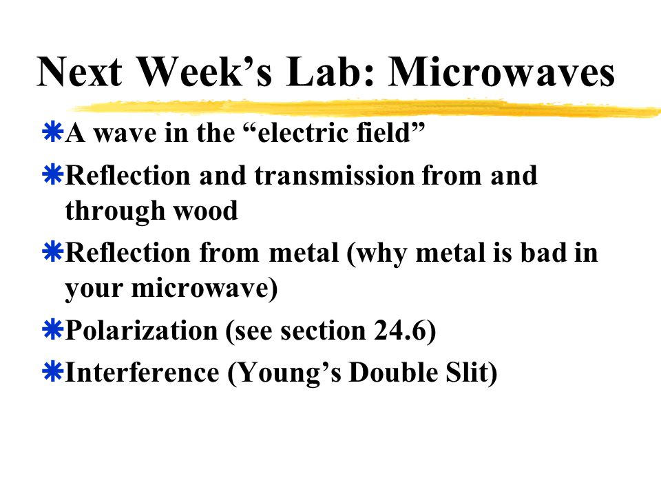 Next Week's Lab: Microwaves  A wave in the electric field  Reflection and transmission from and through wood  Reflection from metal (why metal is bad in your microwave)  Polarization (see section 24.6)  Interference (Young's Double Slit)