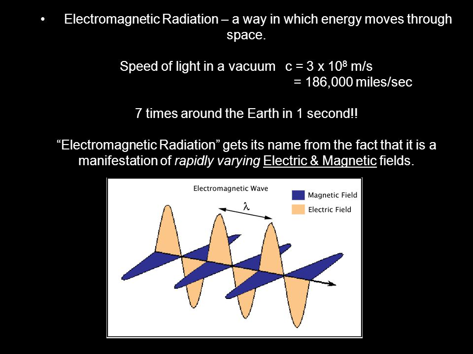 There are seven different regions of the E-M Spectrum They are, in order of increasing wavelength; Gamma Rays X-Rays Ultraviolet Visible Infrared Microwave Radio wave (Be able to describe applications of each region, or where we encounter them in life.)