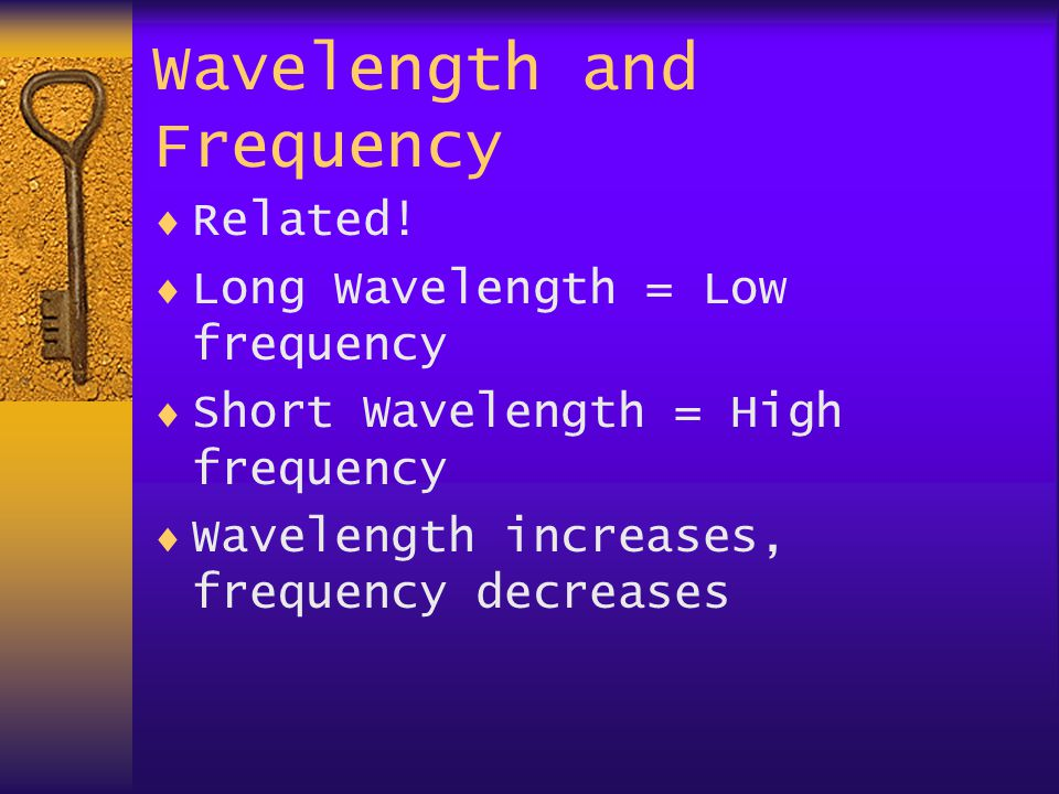 Wavelength and Frequency  Related.