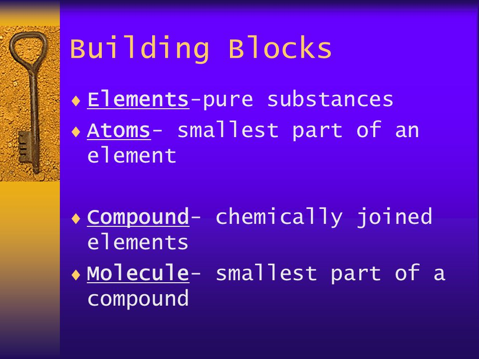 Building Blocks  Elements-pure substances  Atoms- smallest part of an element  Compound- chemically joined elements  Molecule- smallest part of a compound