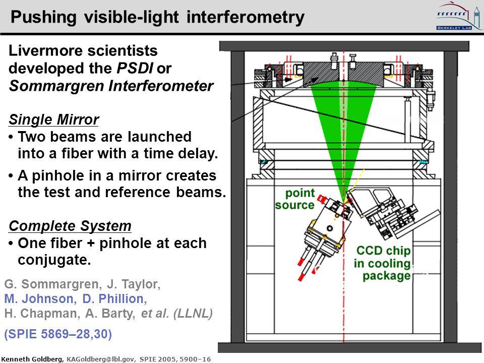 Kenneth Goldberg, KAGoldberg@lbl.gov, SPIE 2005, 5900–16 Pushing visible-light interferometry Livermore scientists developed the PSDI or Sommargren In