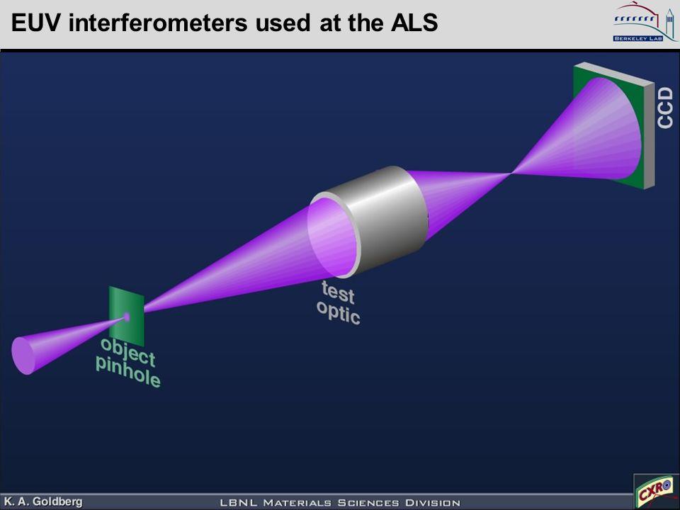 Kenneth Goldberg, KAGoldberg@lbl.gov, SPIE 2005, 5900–16 EUV interferometers used at the ALS