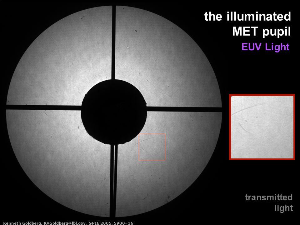 Kenneth Goldberg, KAGoldberg@lbl.gov, SPIE 2005, 5900–16 the illuminated MET pupil transmitted light EUV Light Kenneth Goldberg, KAGoldberg@lbl.gov, SPIE 2005, 5900–16